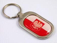 Poland Flag Key Chain metal chrome plated keychain key fob keyfob Polish Polski
