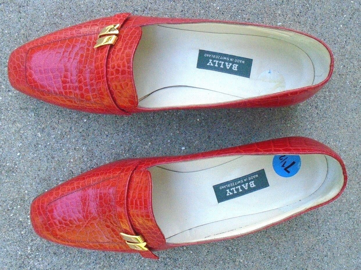 fine Bally womens red faux alligator leather loafer shoes size 7 1/2