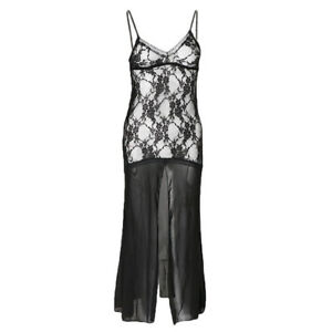 Sexy-Women-Black-Lace-See-through-Lingerie-Dress-Gown-T-back-Thong-NIGHTWEAR