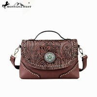 Montana West Tooling Collection Messenger Handbag Coffee