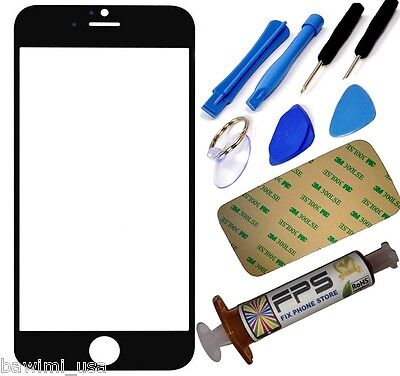 Black Outer Glass Lens Screen iPhone 5, 5S, 5C, Replacement UV LOCA Glue & Tools