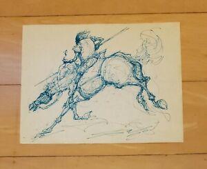"SALVADOR DALI AUTHENTIC -QUIXOTE ON ROCINANTE- 11"" x 8.5"" INK PAPER HAND DRAWING"