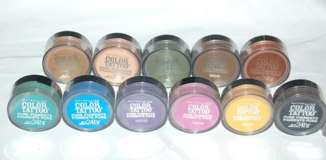 Maybelline Color Tattoo 24 Hour Eyeshadow Pure Pigments 12 Colors ...