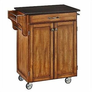 Home Styles Cuisine Kitchen Cart Granite Top With 2 Cabinet Doors Cottage  Oak