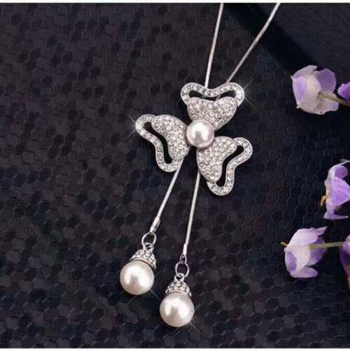 Elegant Women 3 Petals Flower Pendant Long Necklace Sweater Chain Jewelry KV