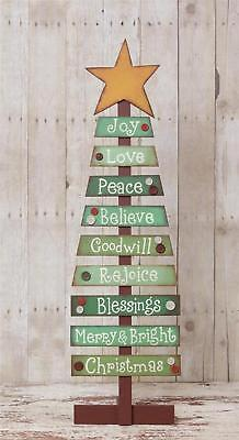 Primitive Country Folk Art Wooden Slat Christmas Tree With