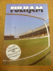 25101988 Fulham v Northampton Town   Item appears to be in good condition unl - <span itemprop='availableAtOrFrom'>Birmingham, United Kingdom</span> - Returns accepted within 30 days after the item is delivered, if goods not as described. Buyer assumes responibilty for return proof of postage and costs. Most purchases from business s - <span itemprop='availableAtOrFrom'>Birmingham, United Kingdom</span>