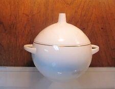 "ROSENTHAL Lotus White 8"" Round Covered Vegetable Bowl Gold Trim Bjorn Wiinblad"