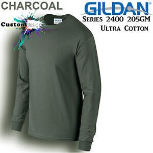 Gildan-Long-Sleeve-T-SHIRT-Charcoal-Basic-tee-S-XXXL-Men-039-s-Ultra-Cotton