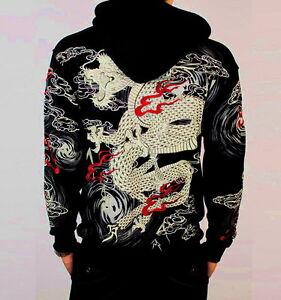 Mens Hoodie Jacket Sweatshirt Japanese Pattern Printed Embroidery ...