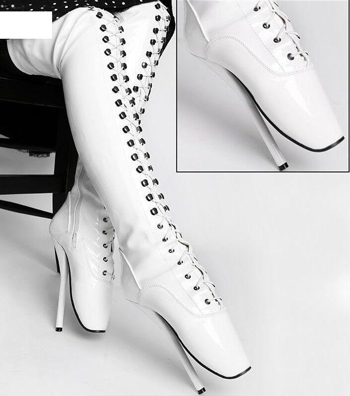 Grandes zapatos con descuento WHITE PVC THIGH High Ballet Boots, high heals, sexy boot 18CMS 7