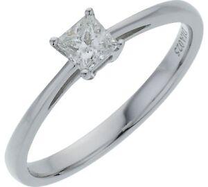 18ct-Oro-Blanco-0-25ct-Princesa-Corte-Diamante-Anillo-De-Compromiso-Talla-P-RRP-599