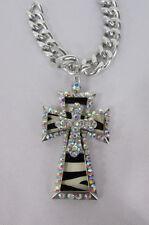 New women silver metal plate scarf necklace pendant charm big cross rhinestones