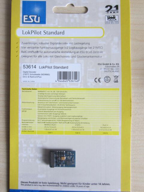 ESU 53614 LokPilot Standard H0 DCC/RailCom MTC21 Schnittstelle NEU OVP