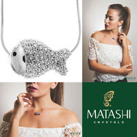 16 Rhodium Plated Necklace W/ Fish Design & Quality Crystals By Matashi on sale