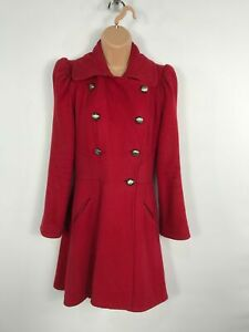 WOMENS-NEXT-RED-DOUBLE-BREASTED-BUTTON-UP-SMART-WINTER-OVERCOAT-JACKET-SIZE-UK-8