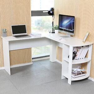 L Shaped Computer Desk Corner Pc Workstation Table Home Office W Shelves White Ebay