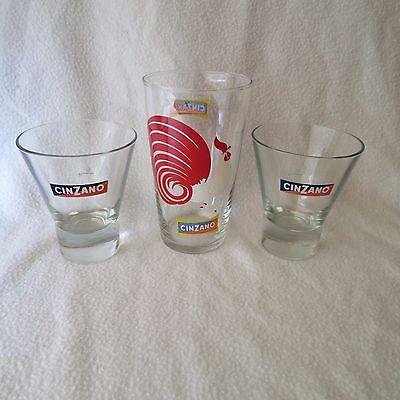 Cinzano Hahn Glas Pitcher Glasbecher Glas-becher 70er Jahre Und 2 Gläser Selten Gläser