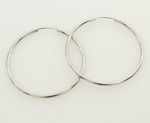 """14K Or blanc 2 mm épaisseur poli large Endless Hoop Boucles d/'oreilles 40 mm 1 9//16/"""""""