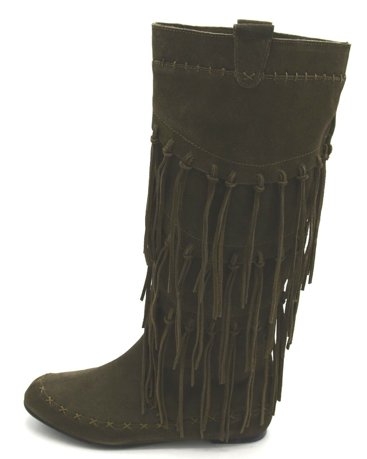 J8001 New Women's June Ambpink Tall Fringed Olive Suede Boot 8 M