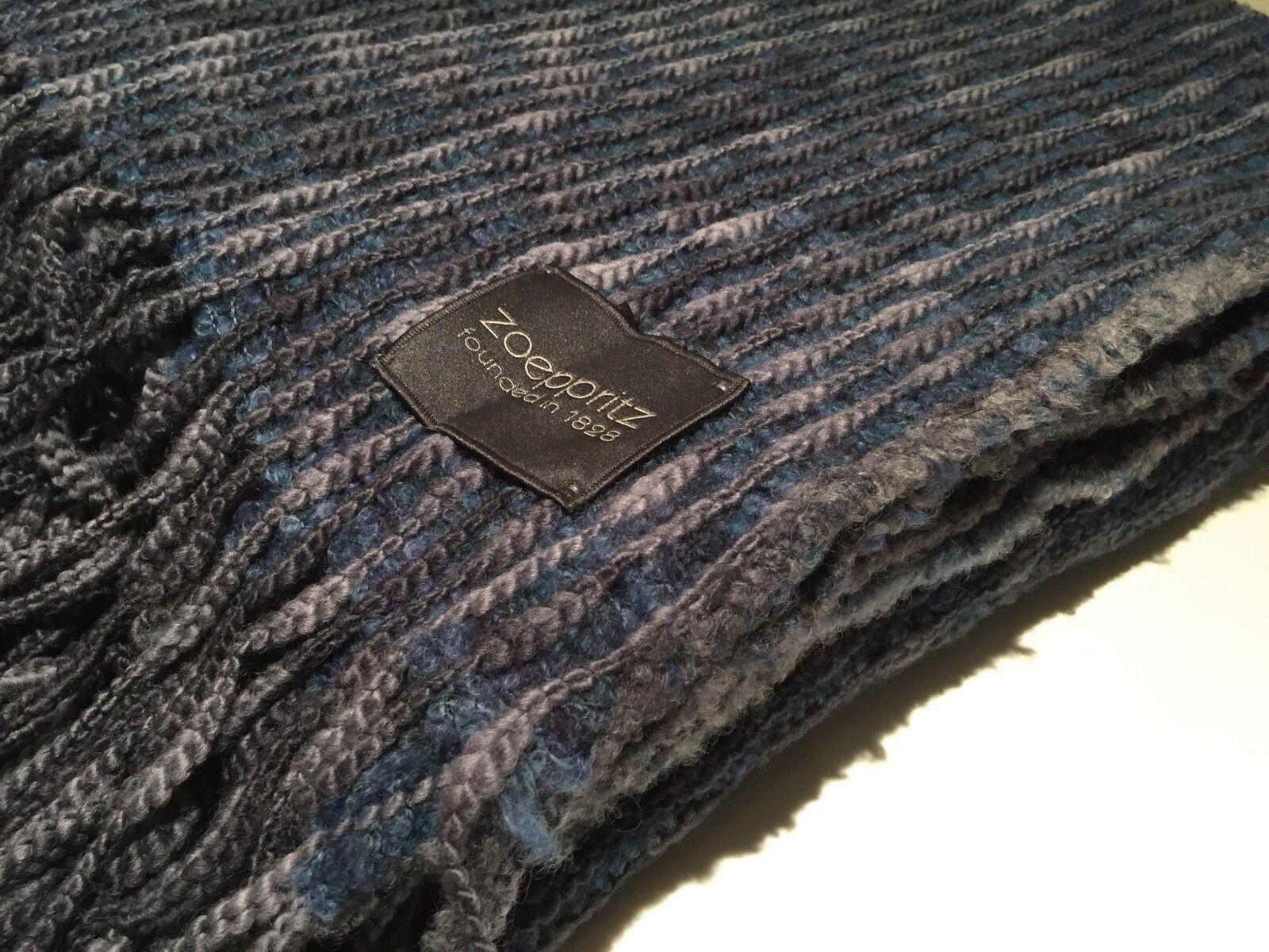 Zoeppritz Deluxe Throw Blanket Virgin Wool & Mohair 160x200cm bluee Grey Melange