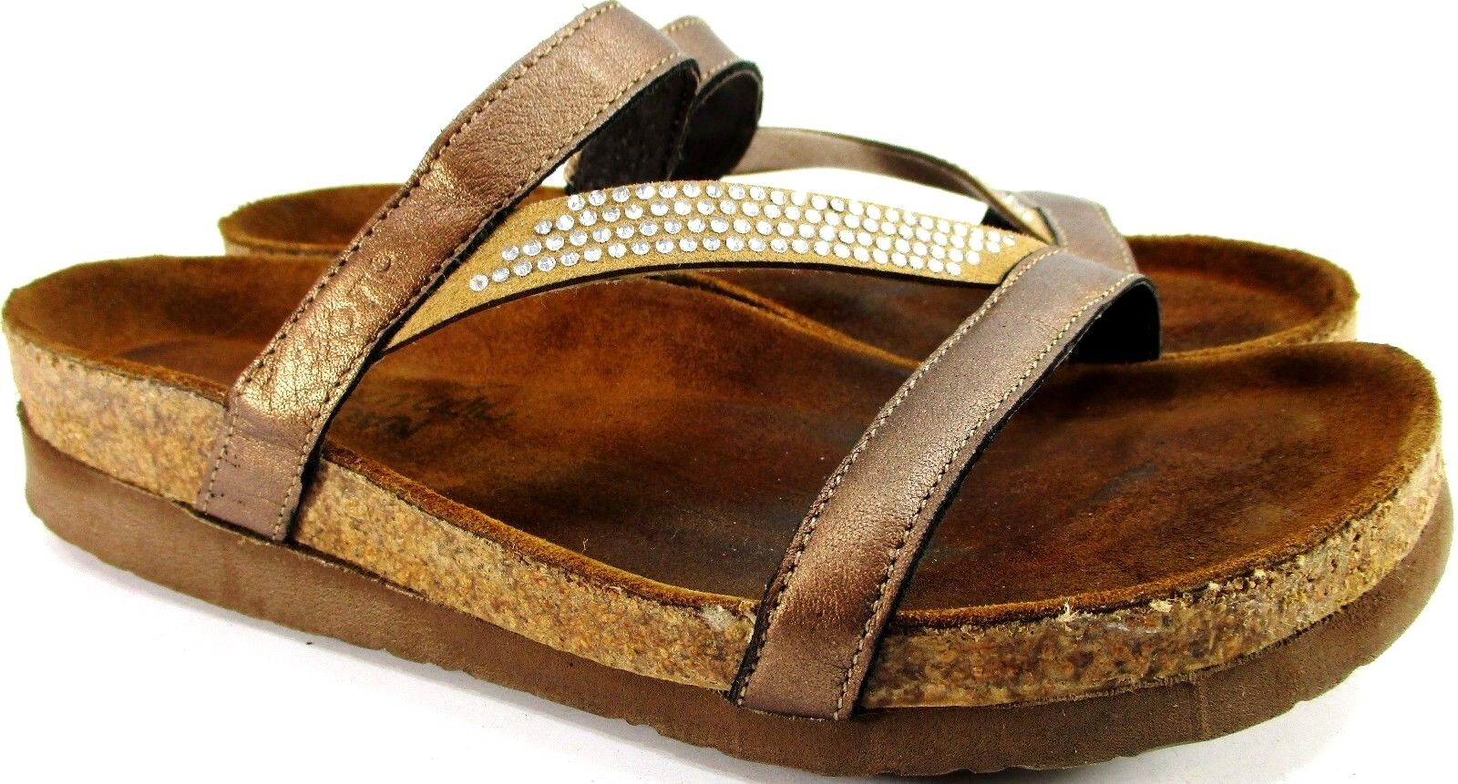 Naot donna Sandals Dimensione 9 Euro 39 Bronze Rhinestone Cork Leather Footbed