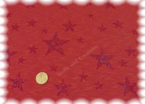 Sweat melange Stars orange Sweatshirt angerauht Glitzersterne 50 cm