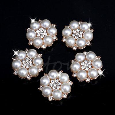 5Pc Pearl Crystal Rhinestone Buttons Flower Flatback Wedding Craft Embellishment