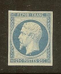 FRANCE-N-10-034-LOUIS-NAPOLEON-25C-BLEU-034-NEUF-x-TB-A-VOIR