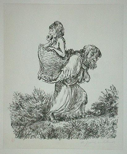 A signiert PAUL WEBER Das Beutestück Original Lithographie 1978
