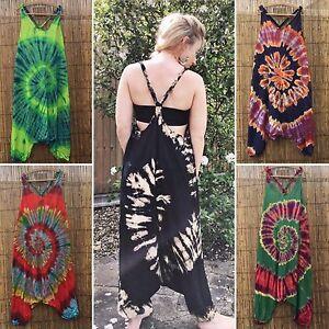 1e1979e23f46 Tie dye jumpsuit hippy hippie boho festival drop crotch harem baggy ...