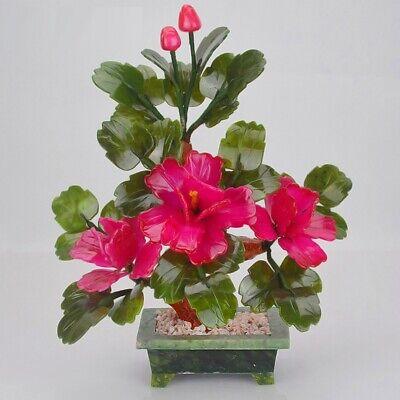 Feng Shui 3 Peony Flower Jade Decorative Bonsai Tree Gemstone Flowering Ebay