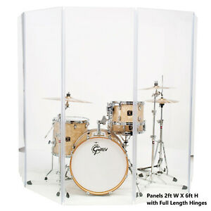Drum Shield Drum Screen DS65L with Living Hinges Acrylic Drum Panels