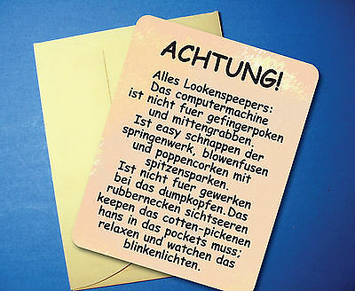 Funny 80th birthday invitations collection on ebay achtung humorous funny greeting card blank inside sku 109 filmwisefo