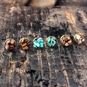 Image Is Loading Women Amethyst Natural Stone Earrings Turquoise Rock Ear