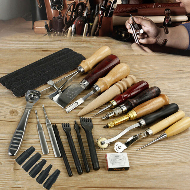 Pro Leather Craft Tools Punch Kit Stitching Carving Sewing Working