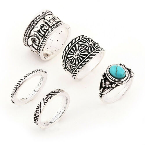 EG/_ 5Pcs//Set Women/'s Elephant Turquoise Knuckle Ring Carved Stacking Rings Cheap