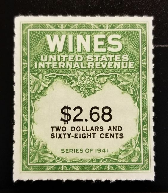 1951-54 $2.68 U.S. Internal Revenue Cordial & Wine, Gre