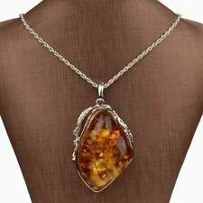 Silver Plated Big Drop Resin faux amber Chain Charm Pendant Necklace Graceful