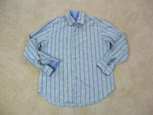 Robert-Graham-Button-Up-Shirt-Adult-2XL-XXL-Blue-Green-Flip-Cuff-Casual-Mens-A0