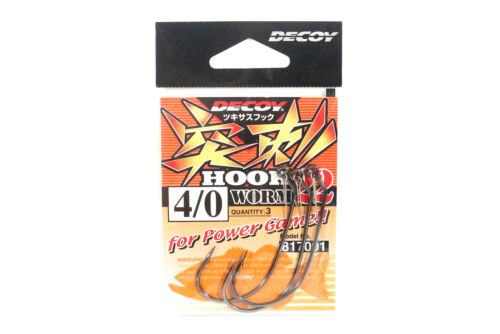 7001 Decoy Worm 22 Power Game Worm Hook with Keeper Size 4//0