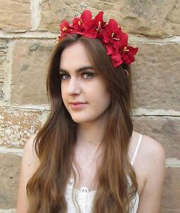 Rouge Orchidee Serre Tete Fleur Cheveux Couronne Coiffe Festival