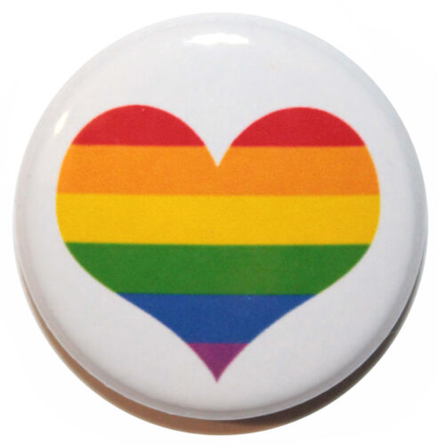 """25mm 1/"""" High Quality Gay Pride Heart Button Badge Pin MADE IN UK"""