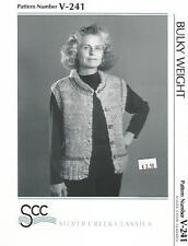 Seed Stitch Vest Jacket Pockets Knitting Pattern V-241 Silver Creek Womens 36-44