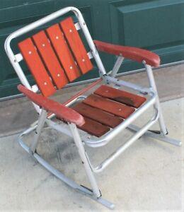 Stupendous Details About Vintage Child Size Rocking Chair Redwood Wood Slats Aluminum Lawn Folding Patio Creativecarmelina Interior Chair Design Creativecarmelinacom