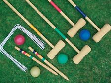 4 PLAYER COMPLETE WOODEN OUTDOOR GARDEN CROQUET SET MALLET BALLS TOY FUN CROQUET