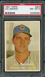 1957-Topps-BB-Card-353-Cal-Neeman-Chicago-Cubs-ROOKIE-CARD-PSA-NM-MT-8