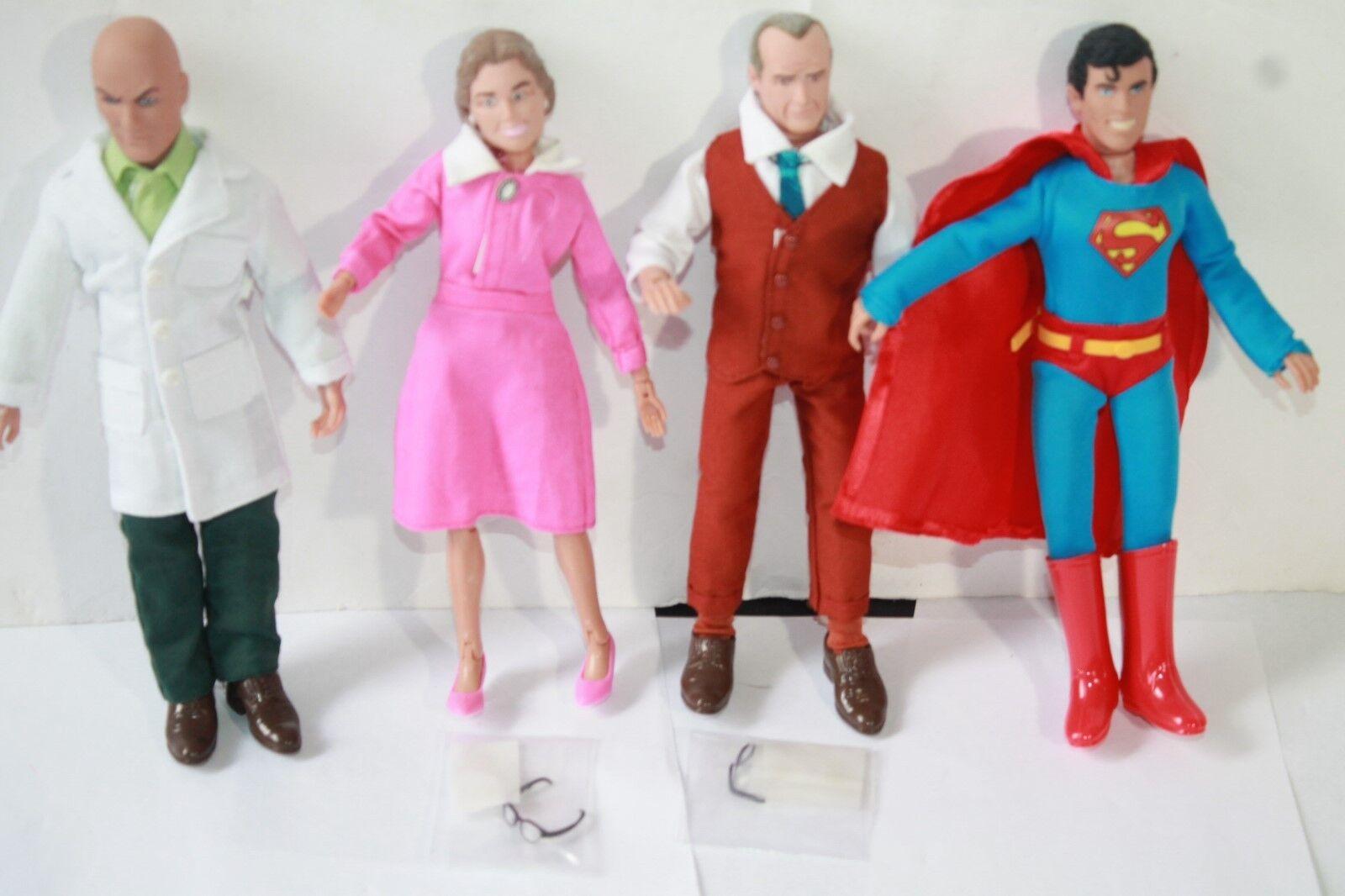 Retro - mego superman 3  8 - zoll - actionfiguren lex; ma & pa kent superboy - polybeutel.