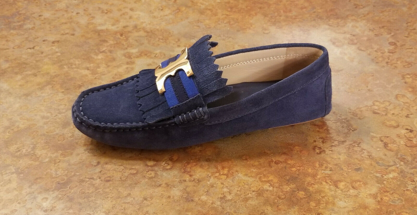 New  Tory Burch 'Gemini Link' Driving Moccasin Loafer Blau Suede 6.5 M MSRP  275