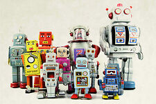 SUPERB RETRO VINTAGE TOY ROBOTS CANVAS #402 QUALITY CANVAS WALL ART PICTURE A1